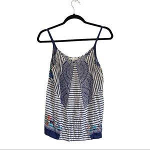 CAbi floral striped Harlow tank top size small